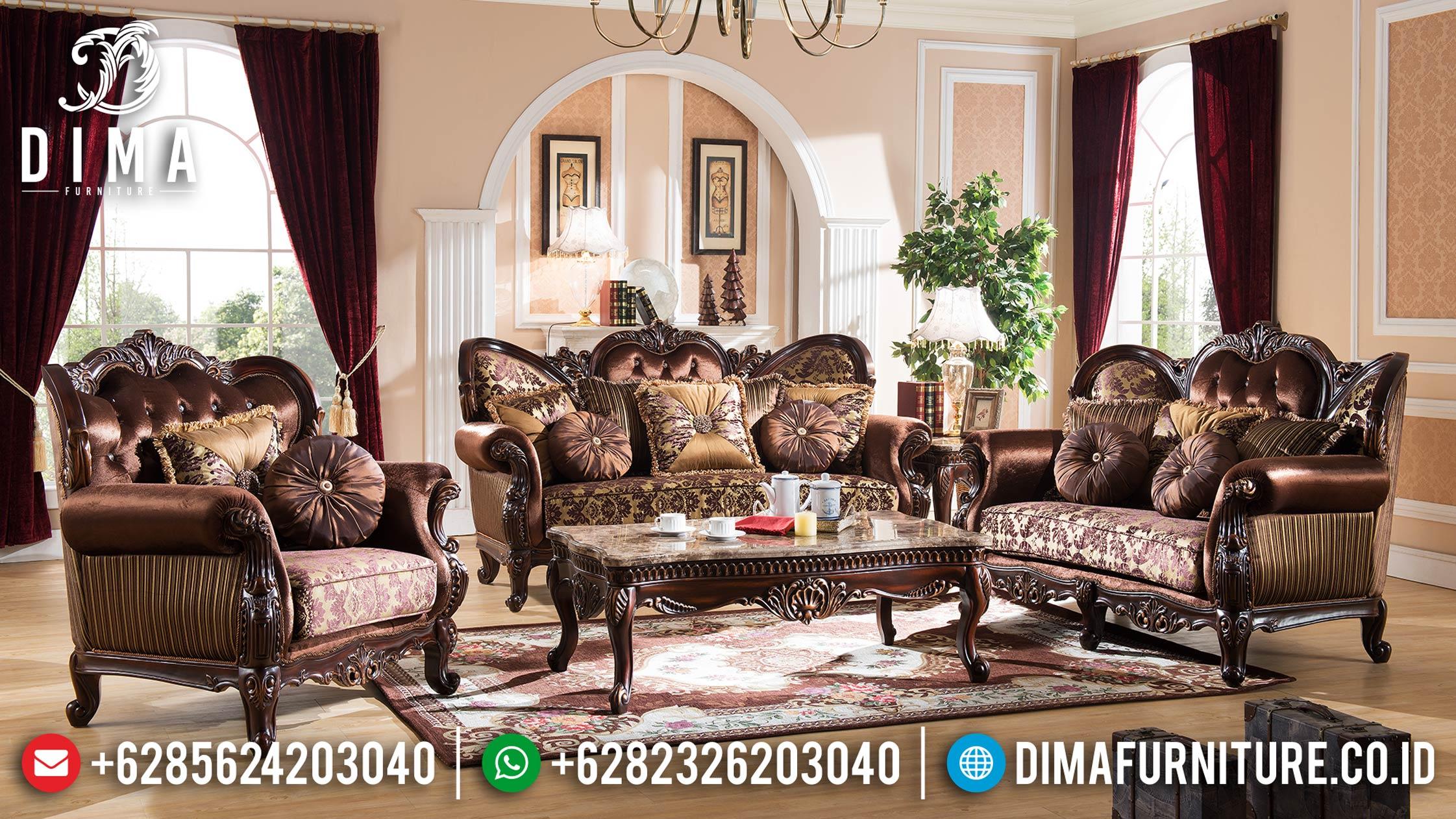 Model Kursi Sofa Tamu Jepara Mewah Terbaru Ukiran Jati Klasik Natural DF-0869