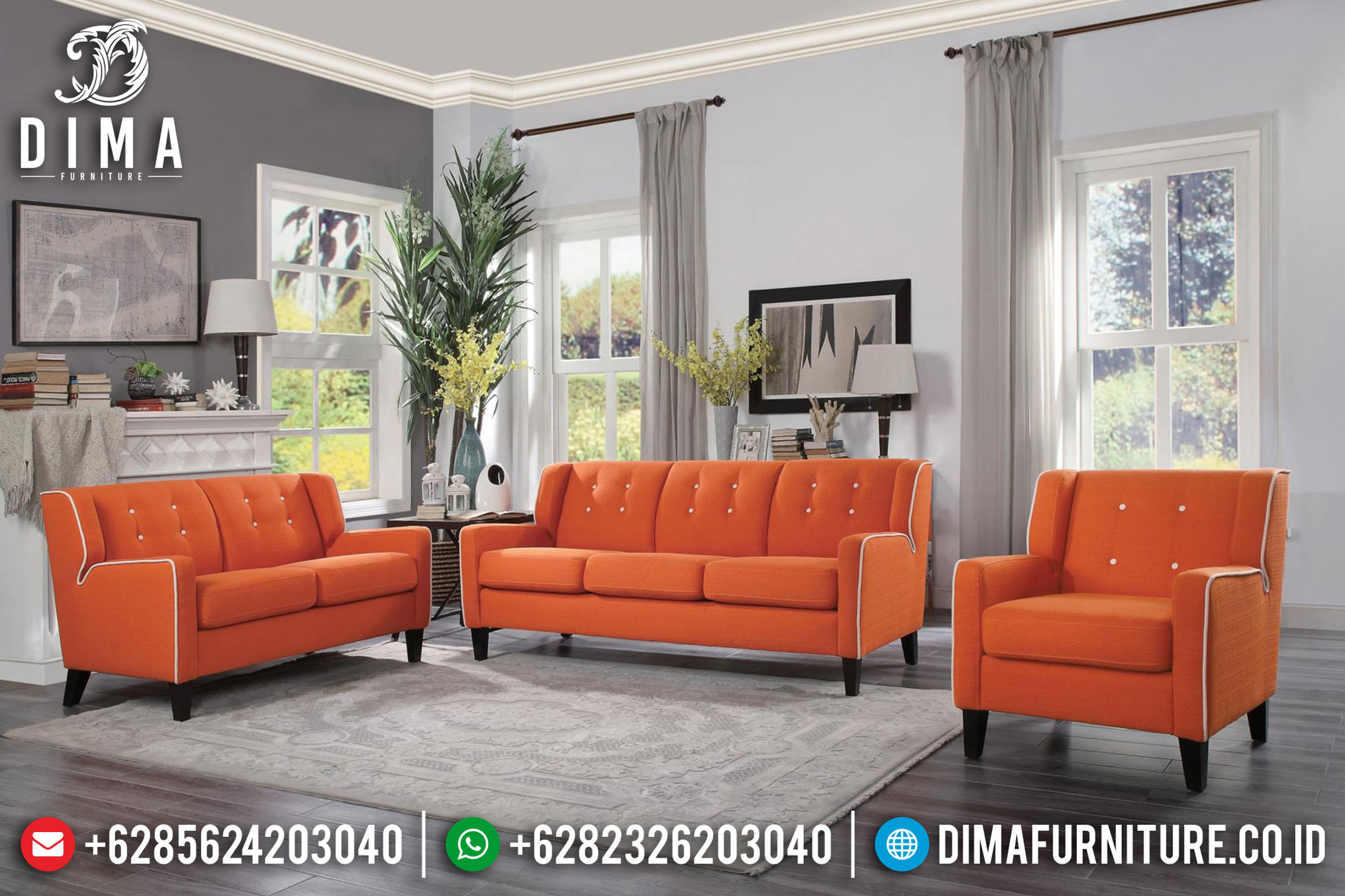Set Model Sofa Tamu Minimalis Jepara Model Terbaru Warna Orange Custom DF-0855