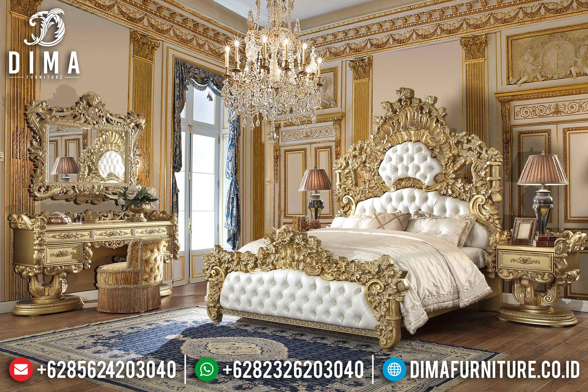 Model Tempat Tidur Mewah Ukiran Jepara Gold Leaf DF-0934