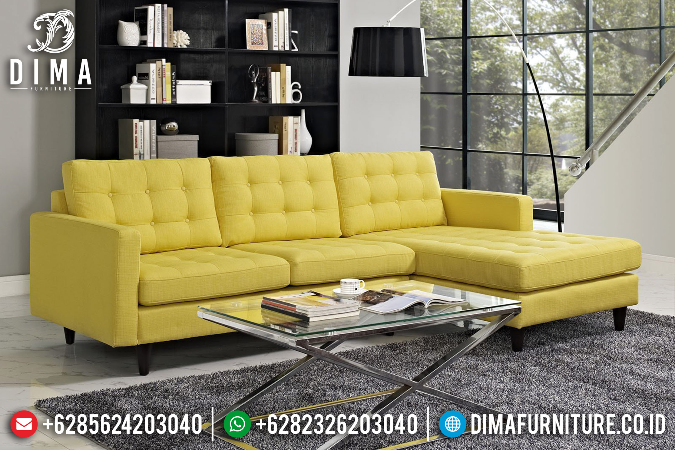 Warren Sectional Kursi Sofa Tamu Jepara Minimalis Terbaru Yellow Fabric DF-0875