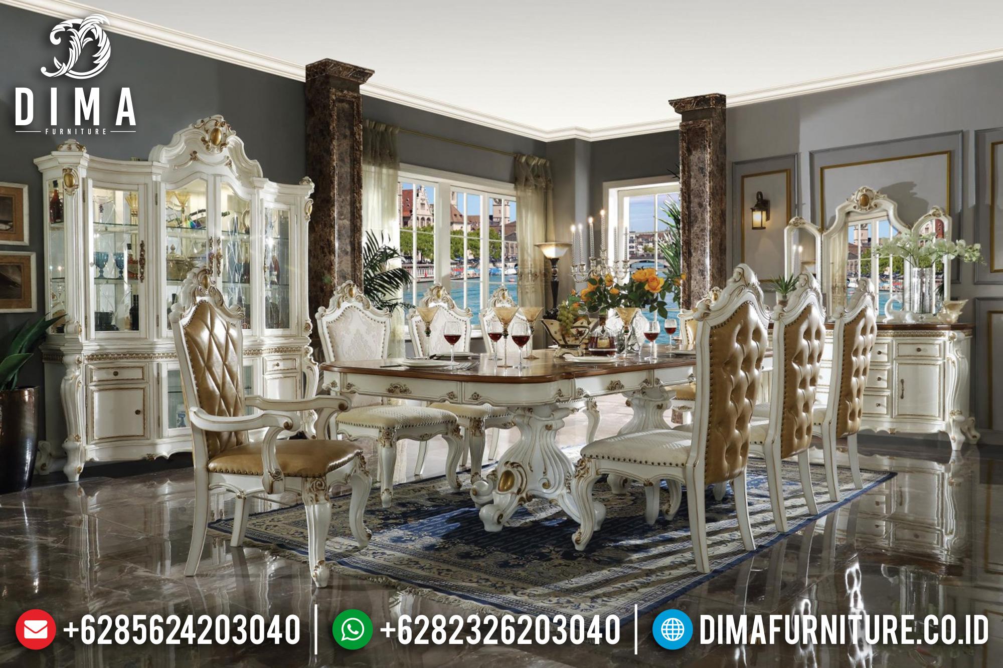 Set Kursi 10 8 6 Meja Makan Jepara Mewah Putih Mutiara DF-0968
