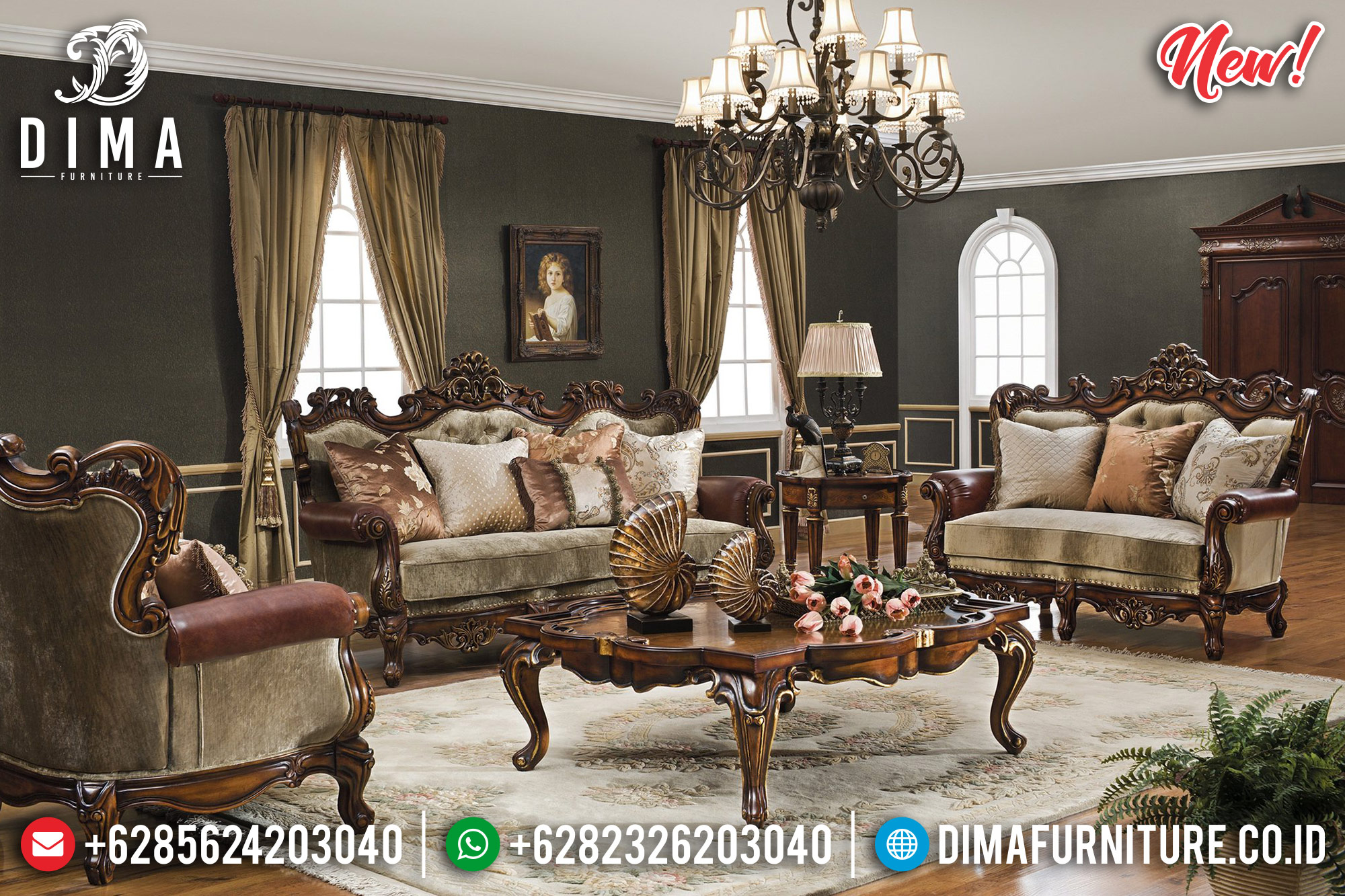 Jual 3 2 1 Set Sofa Tamu Mewah Jati Classic Natural DF-0989