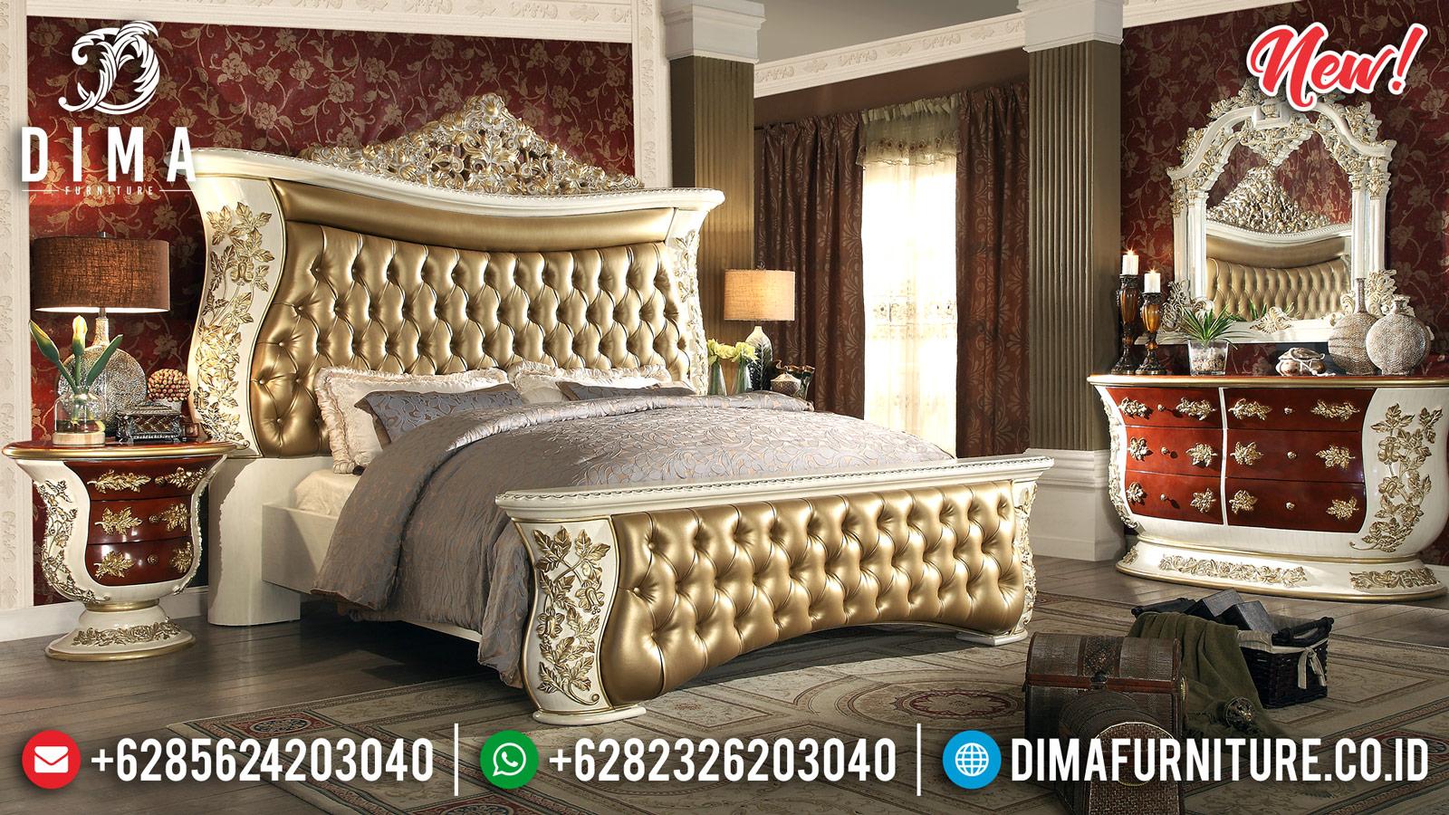 Model Tempat Tidur Mewah Ukiran Jepara Gold Ivory DF-1011