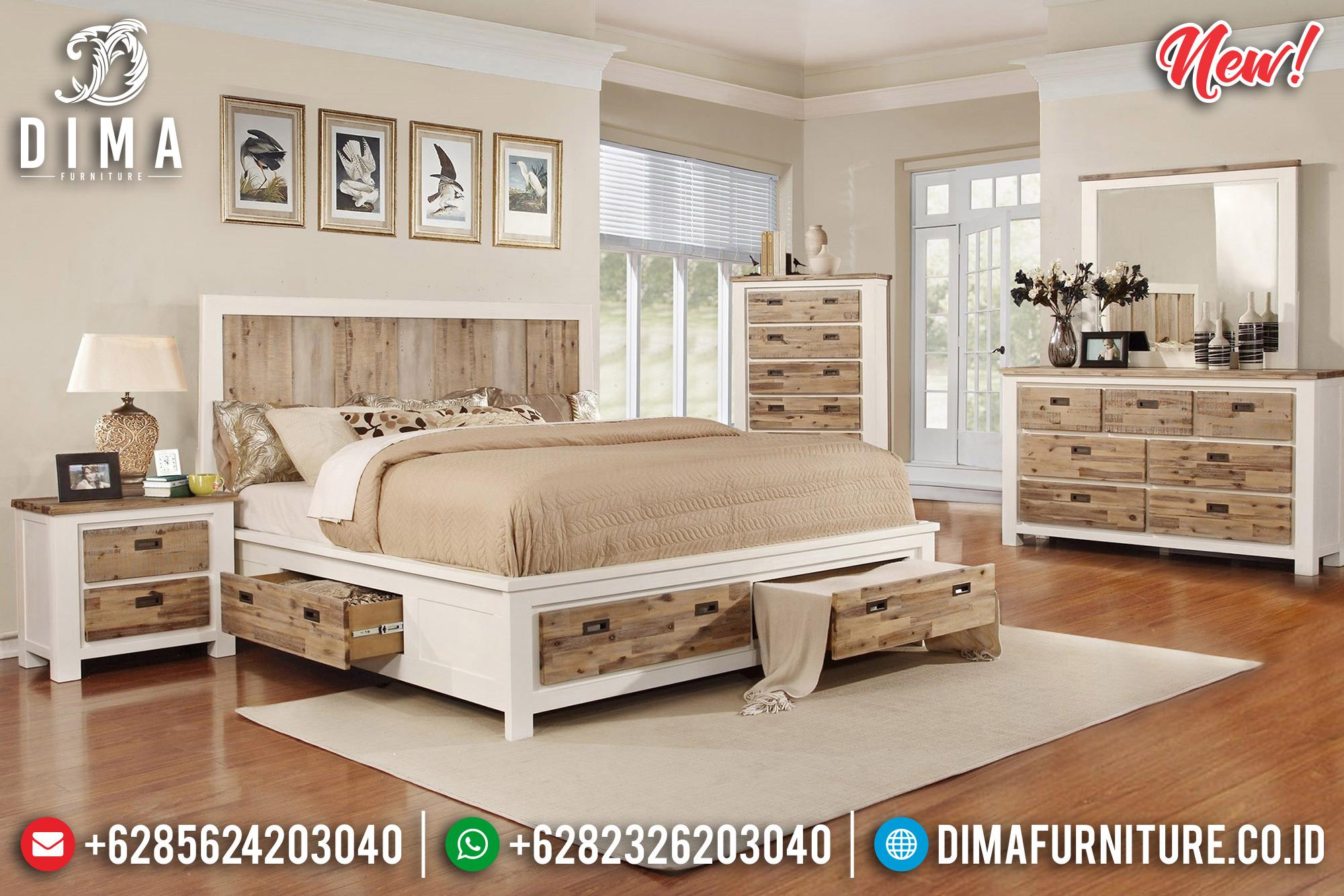 Natural & Putih Tempat Tidur Minimalis Jepara Berlaci DF-1016