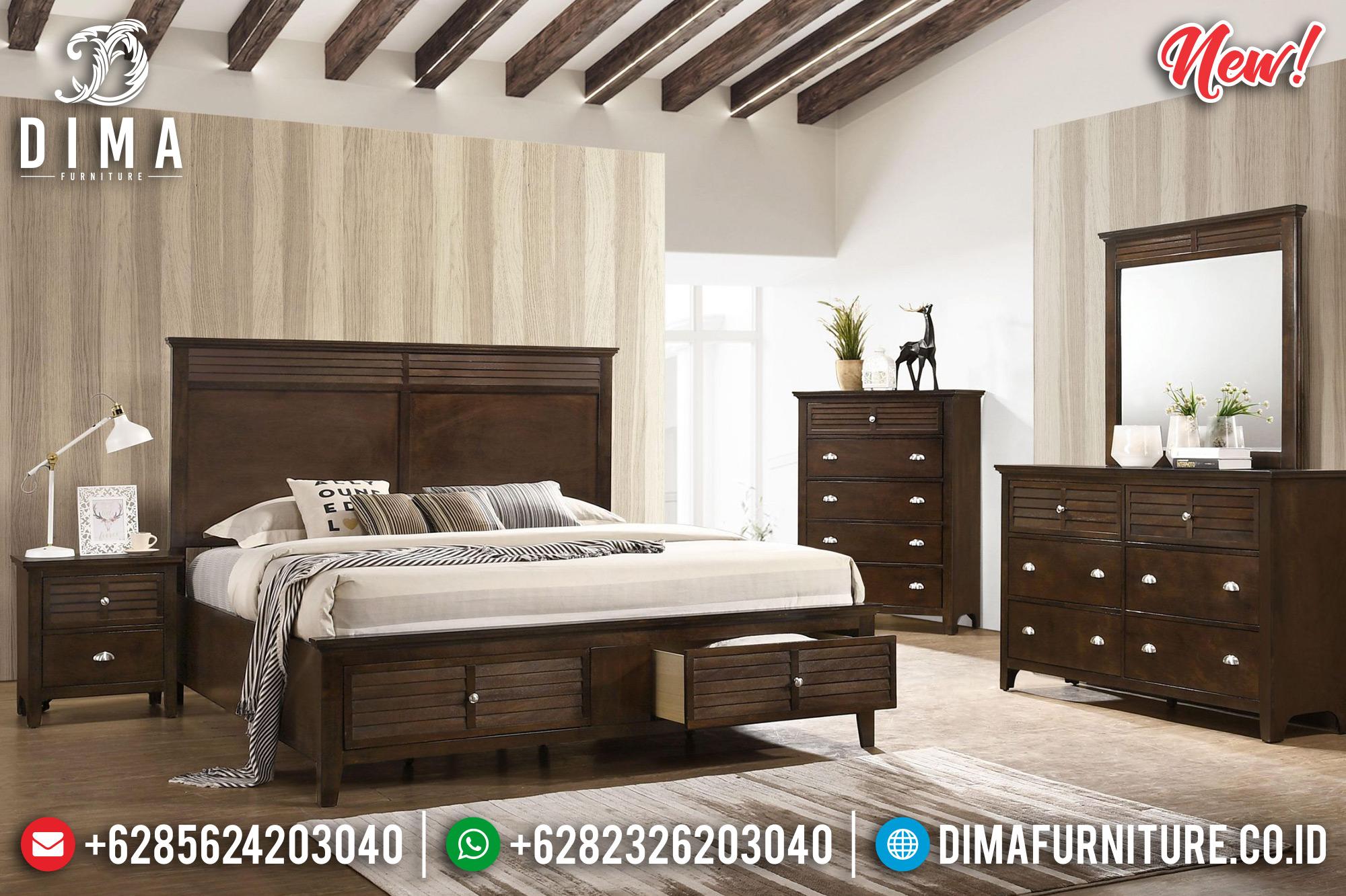 Set Tempat Tidur Minimalis Model Laci Jati Jepara DF-1017