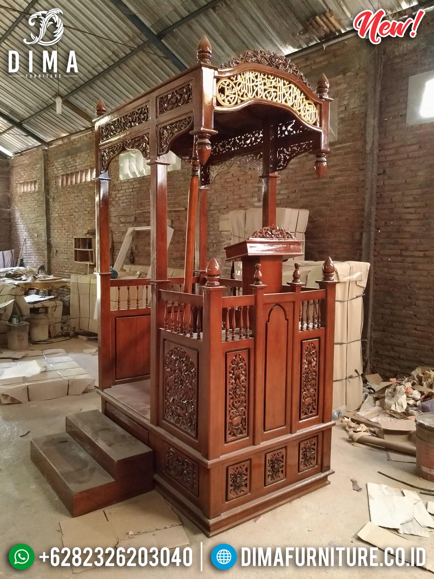 Mimbar Masjid Jati Jepara Ukiran Kaligrafi Gold DF-0995