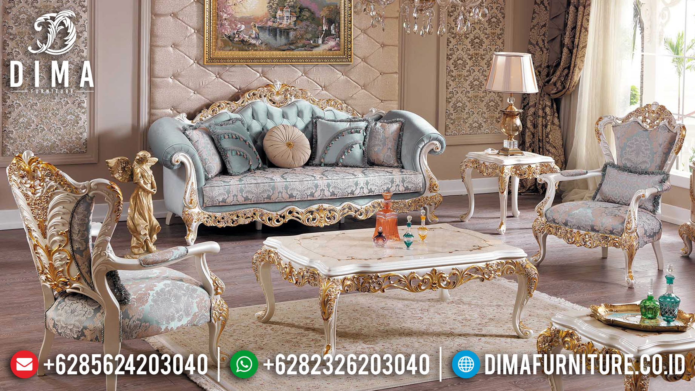 Furniture Jepara White & Gold Duco 3 1 1 Sofa Tamu Mewah Intan DF-1171