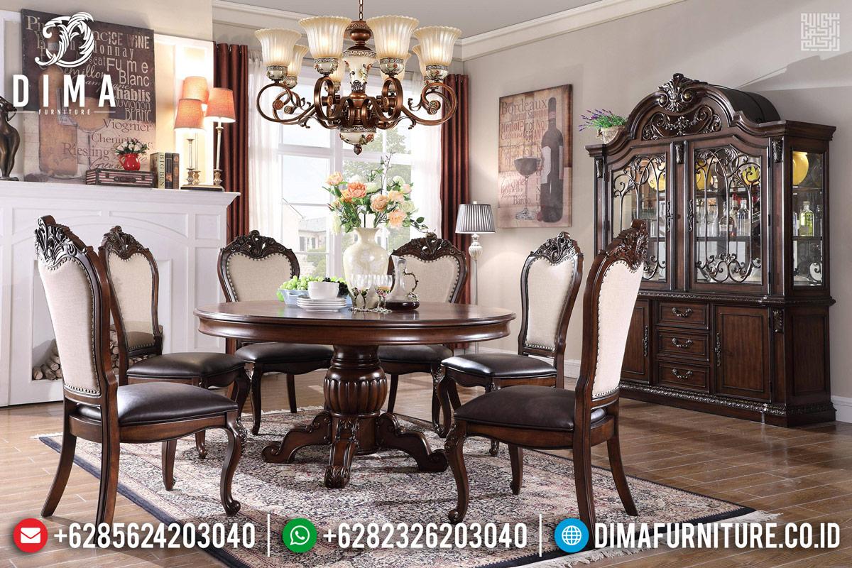 Set Meja Makan Mewah 6 Kursi Natural Rose Wood Color DF-1131