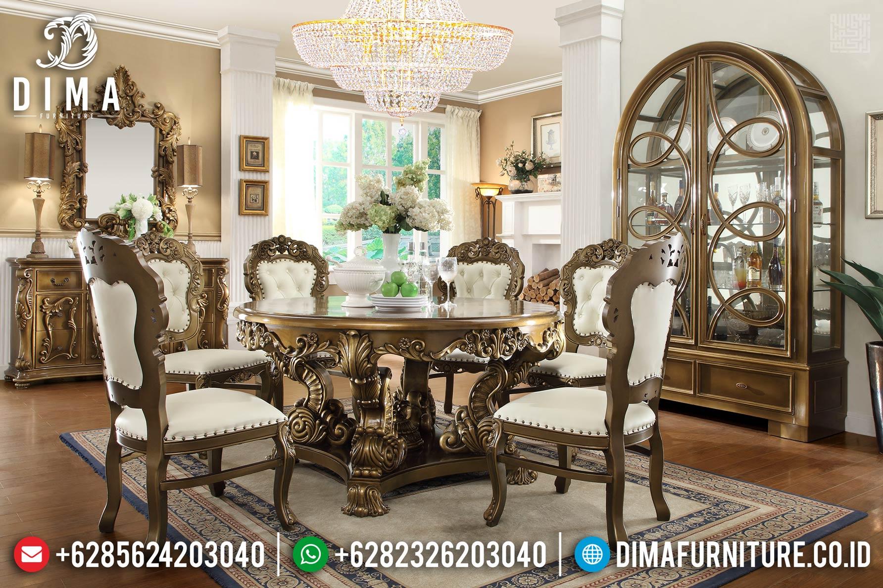 Duco Gold Meja Makan Mewah Bulat Furniture Jepara Ukir DF-1184