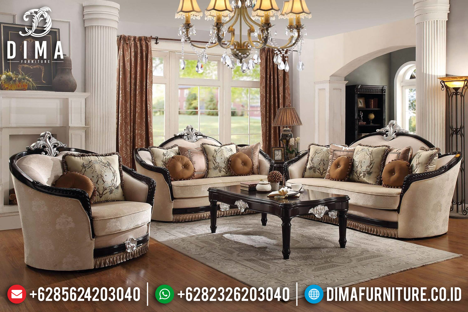 Ernestine New Sofa Tamu Mewah Classic Ukir Furniture Jepara DF-1194