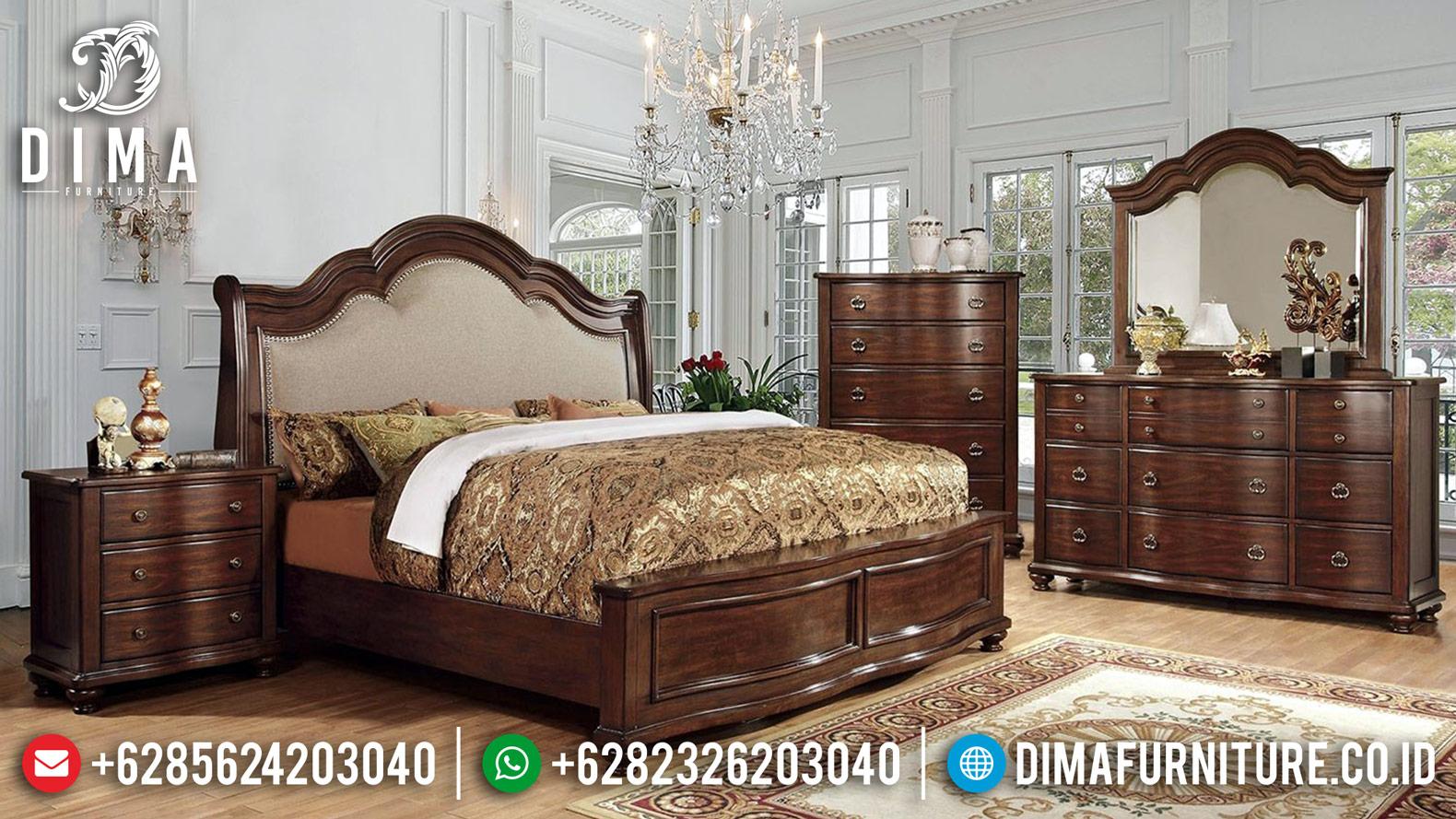 New Elegant Tempat Tidur Jepara Jati Minimalis Natural Salak DF-1196