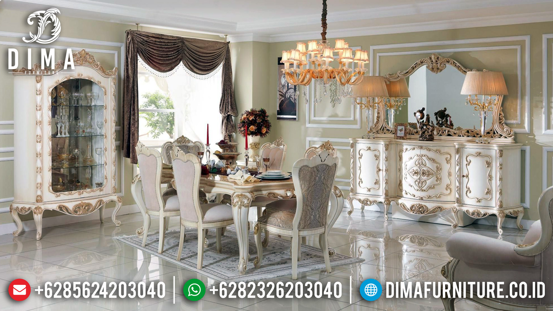 New Sale Meja Makan Mewah Klasik Furniture Jepara Broken White DF-1201