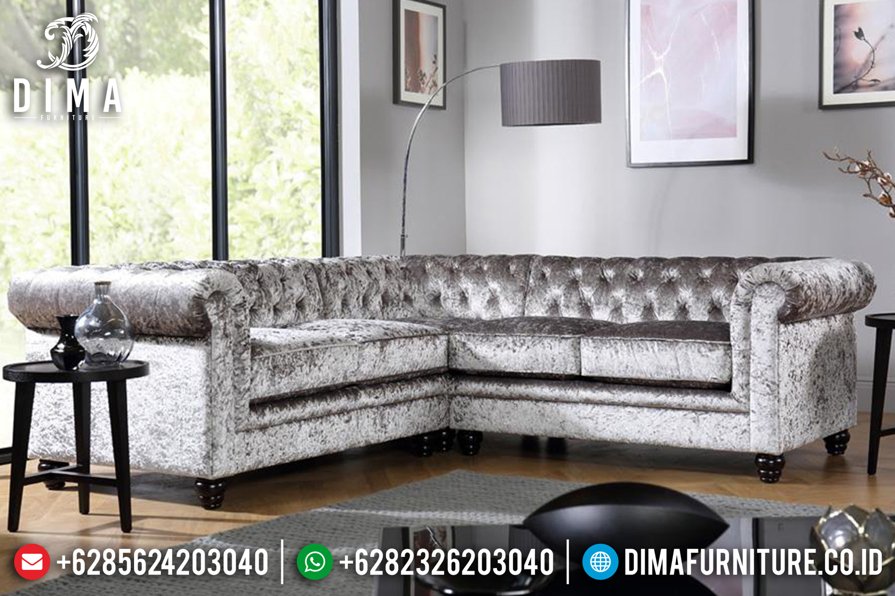 New Wonder Sale Sofa Tamu Jepara Minimalis Mewah Bludru Chesterfield DF-1206