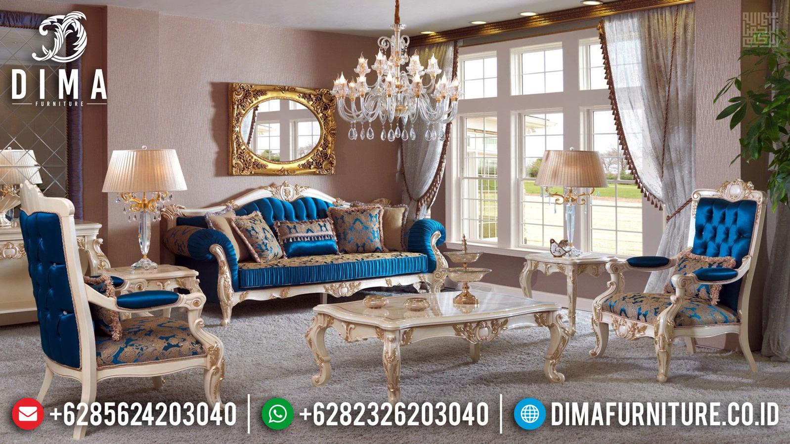 Sale Sofa Tamu Mewah Jepara Classic Koltuk Duco White Pearl Gold DF-1190