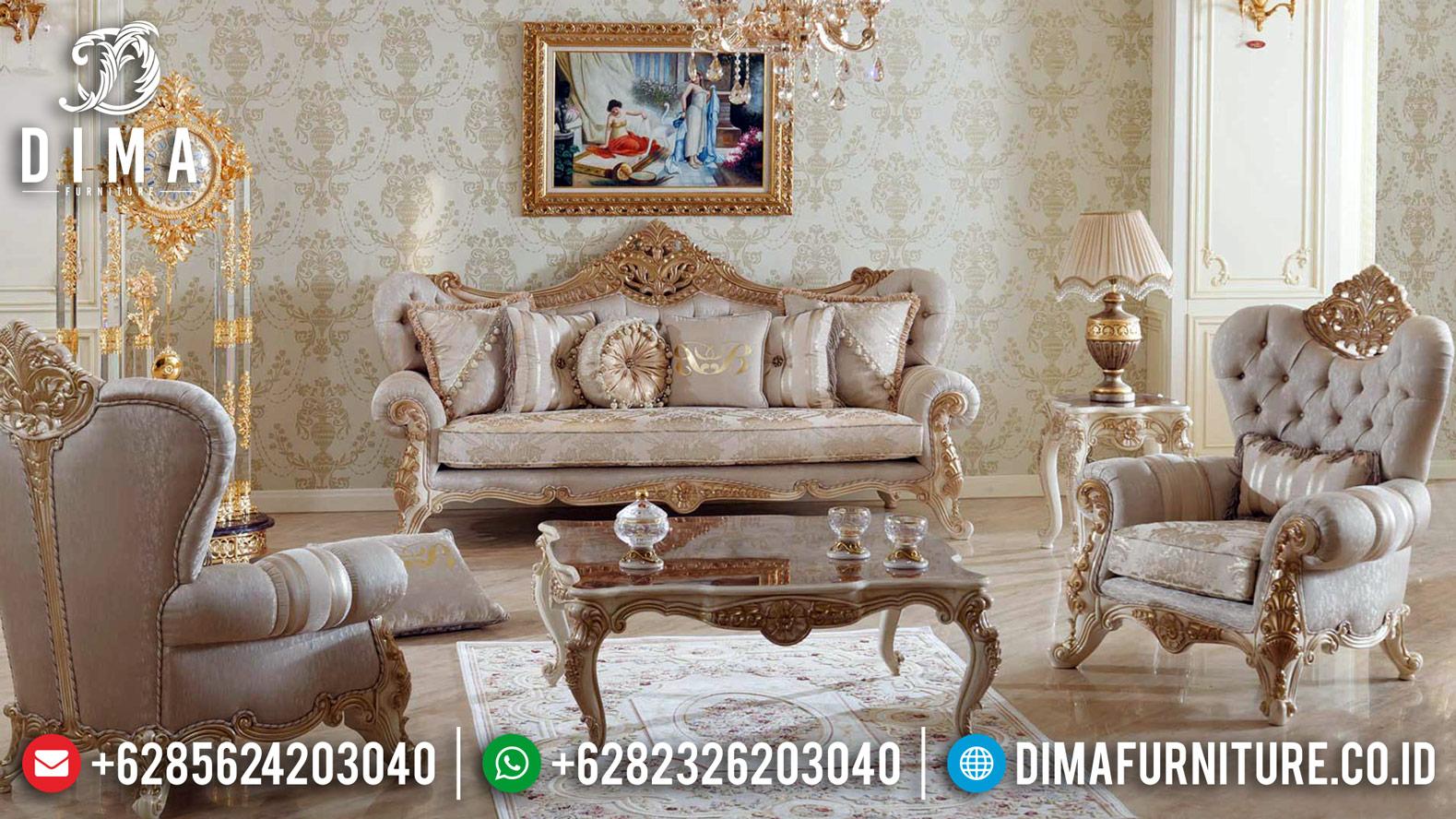 Horence Set Kursi Sofa Tamu Mewah 3 1 1 Classic Gold Putih Duco DF-1235