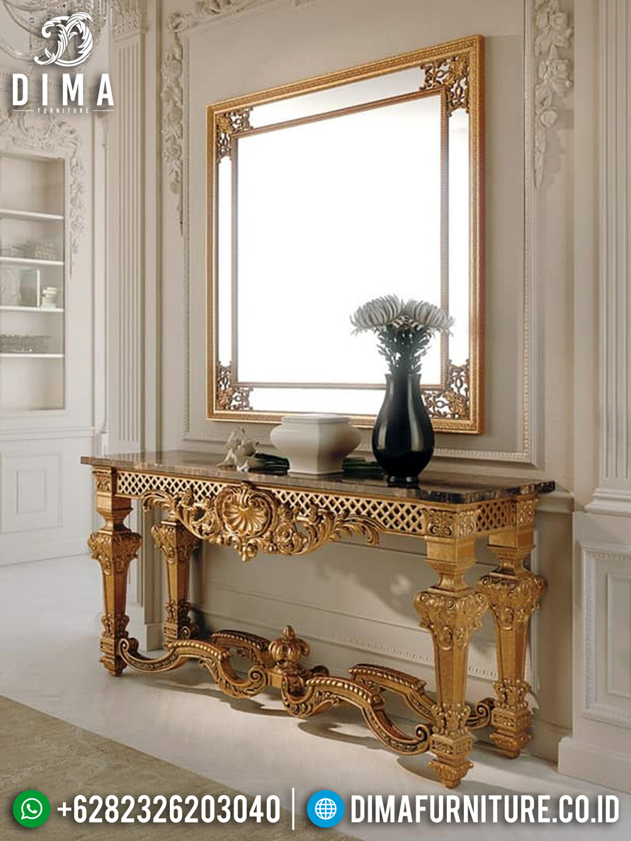 Jual Meja Konsol Mewah Cermin Hias Ukiran Klasik Gold DF-1227