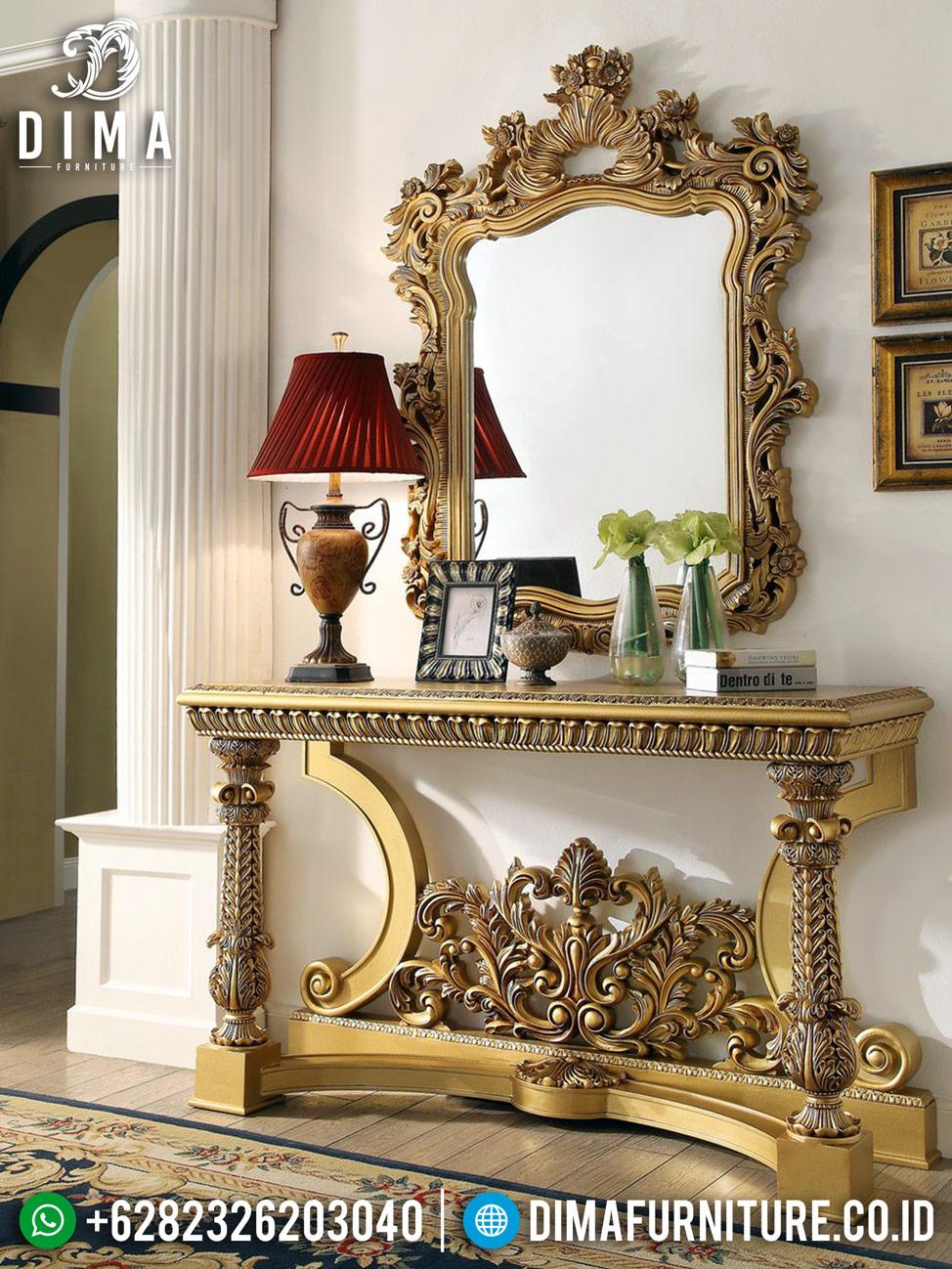 Luxury Gold Set Meja Konsol Cermin Hias Mewah Ukiran Jepara DF-1225