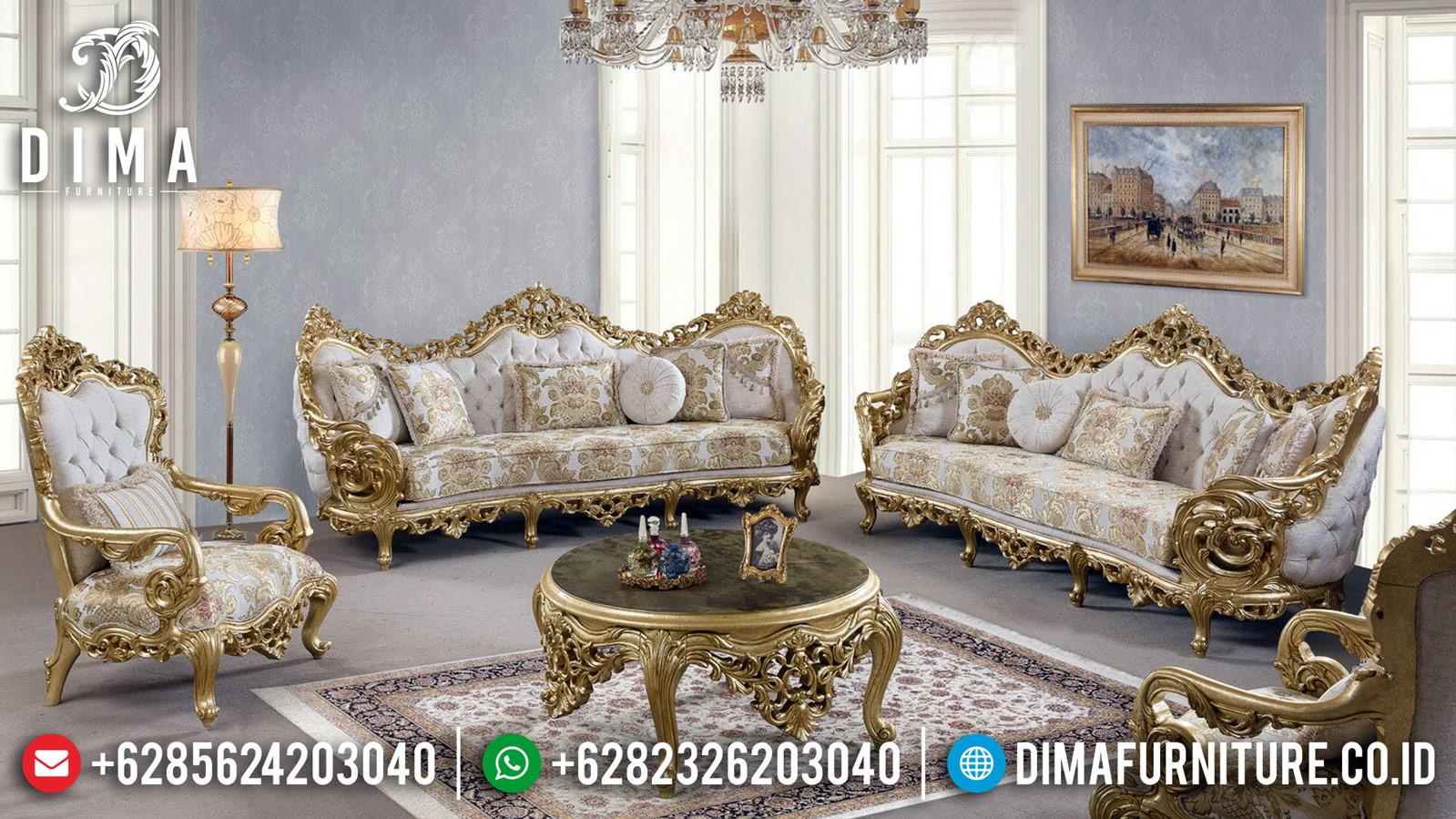 Luxury Sofa Set Kursi Ruang Tamu Ukiran Mewah Jepara New Gold DF-1217