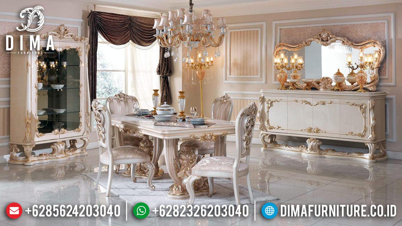 Model Meja Makan Mewah 2020 Full Ukiran Jepara Pearl White Duco DF-1223
