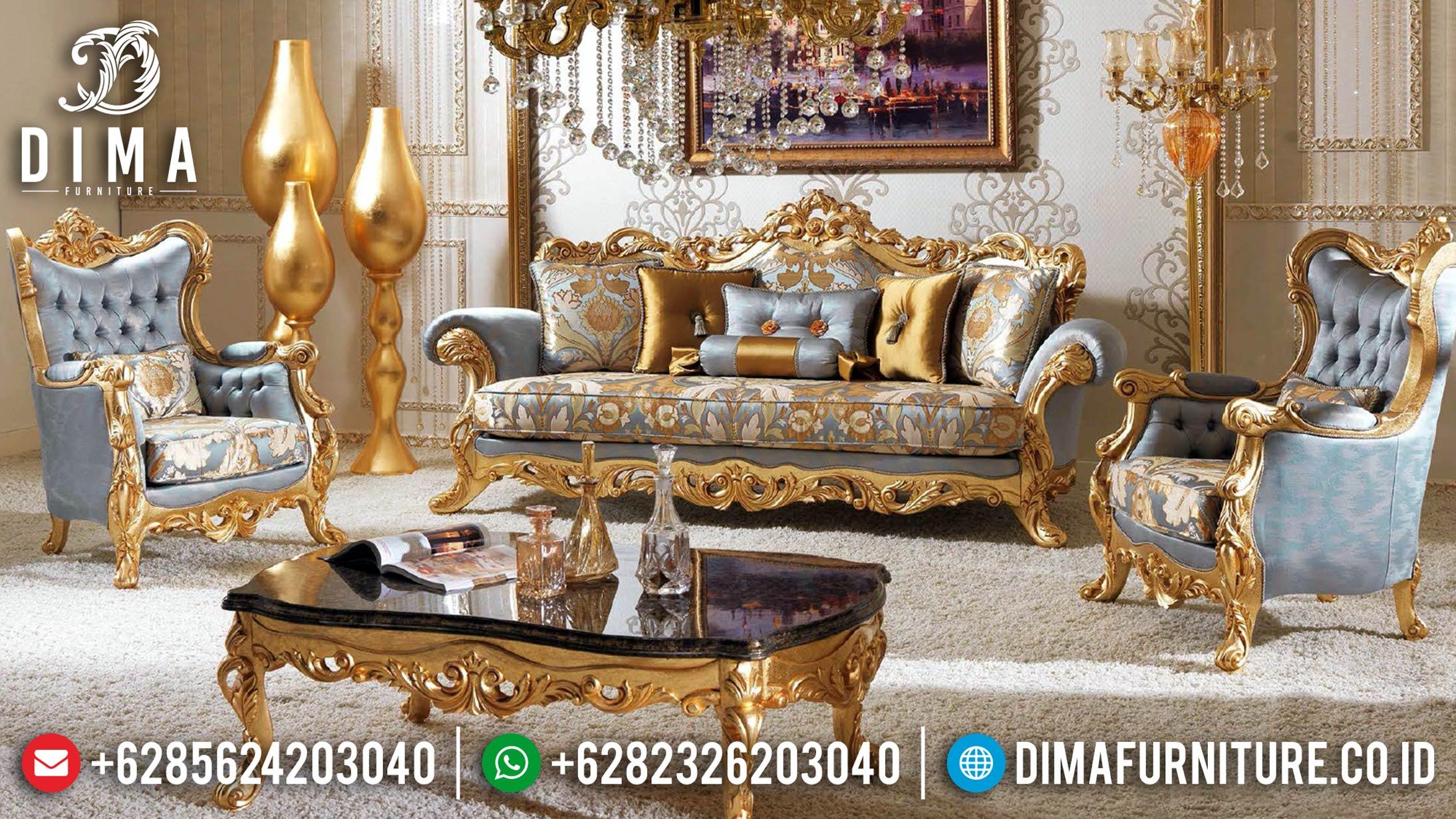 New Set Gold 3 1 1 Sofa Tamu Mewah Ukiran Jepara Klasik Turkey DF-1216