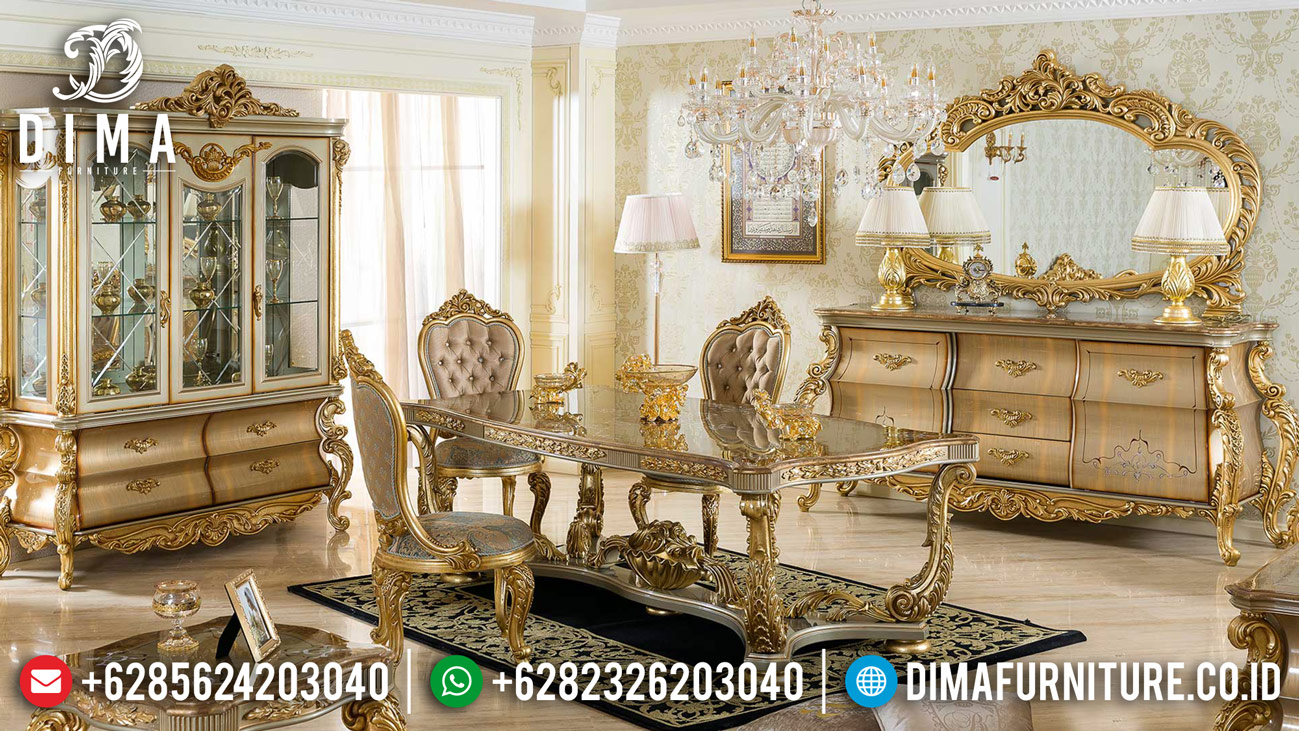 Queen Gold Furniture Jepara Set Meja Makan Mewah Ukiran Classic DF-1221