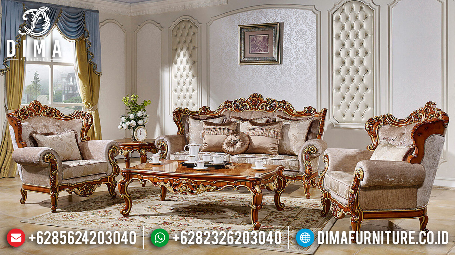 Set 3 2 1 Kursi Sofa Tamu Jepara Jati Ukir Mewah Klasik Natural Gold DF-1234