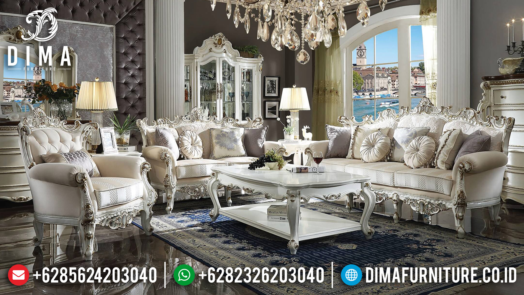 New 3 2 1 Set Sofa Tamu Mewah Pearl White Gold Duco Ukir Jepara DF-1237