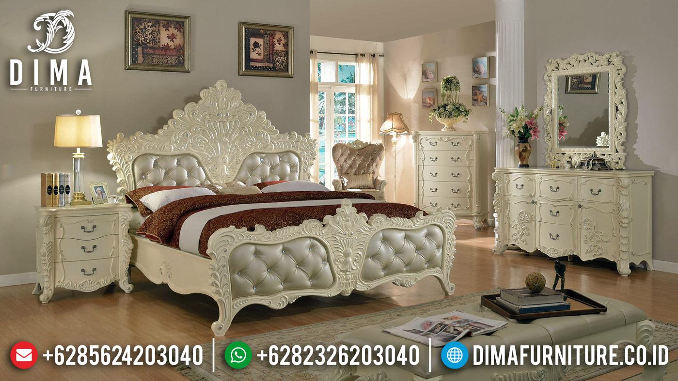 Novara New Kamar Set Mewah Ukir Classic Tempat Tidur Jepara Putih Silver DF-1242