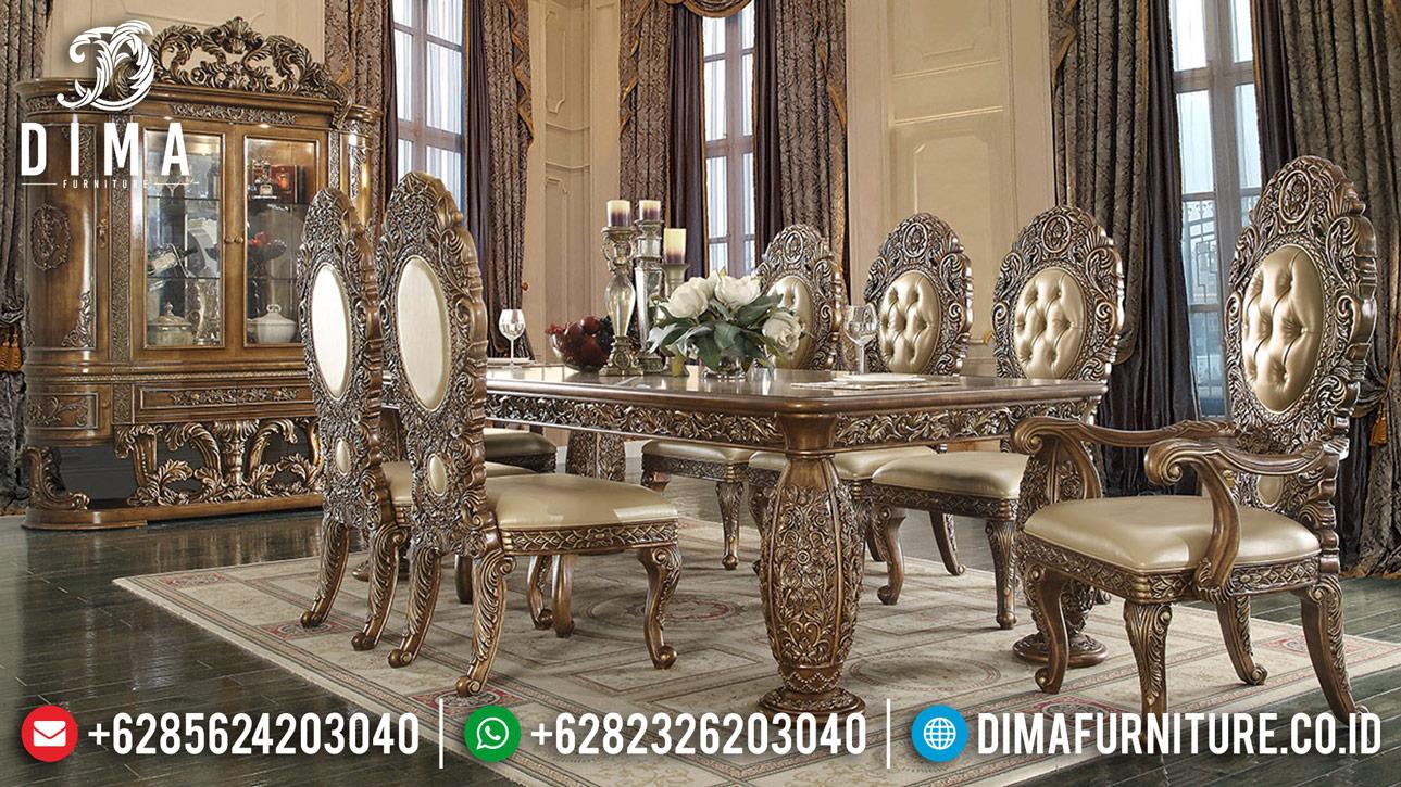 Sale New Meja Makan Mewah Jepara Gold Ukiran Classic DF-1246