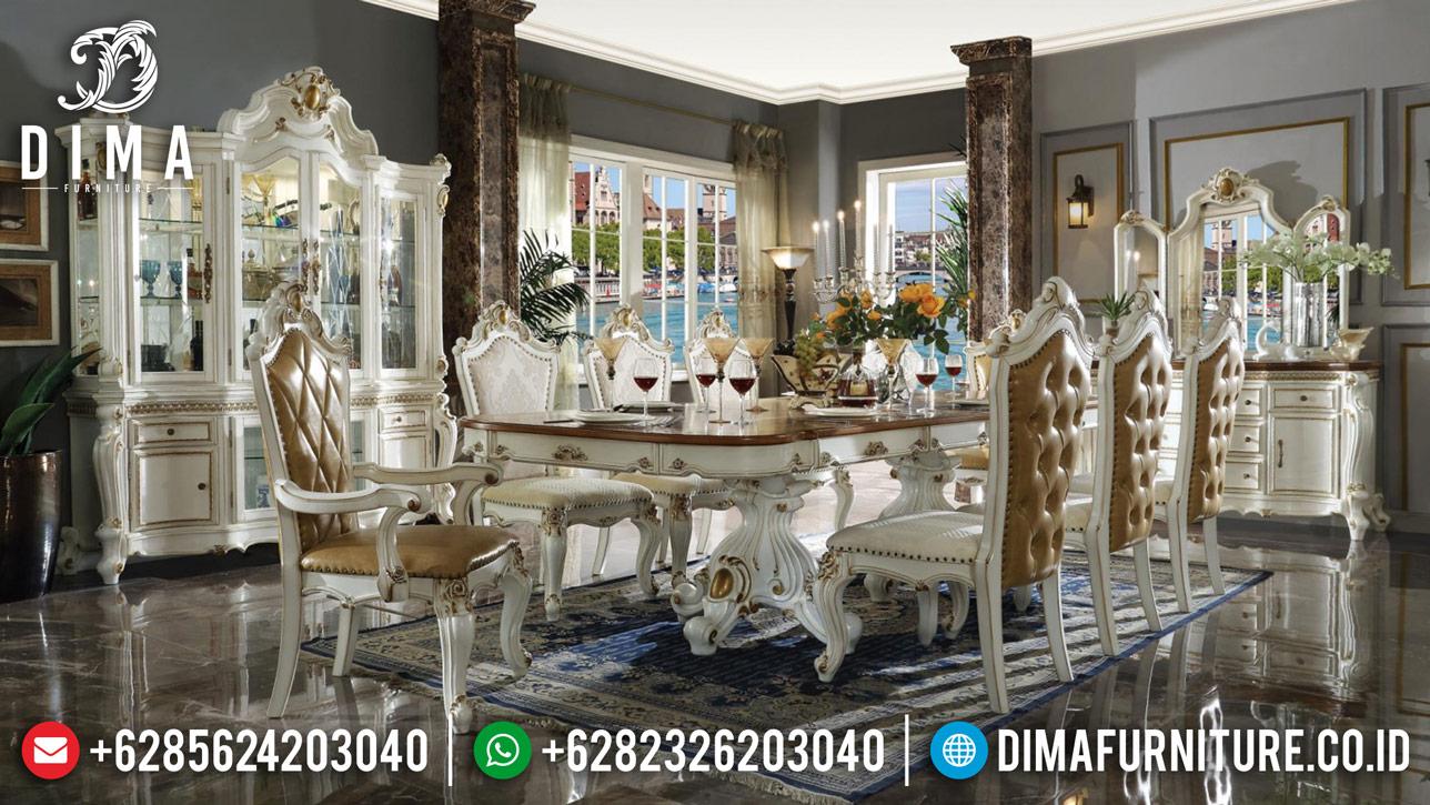 Set Meja Makan Mewah Duco Putih Gold Jepara 2020 Royals DF-1247
