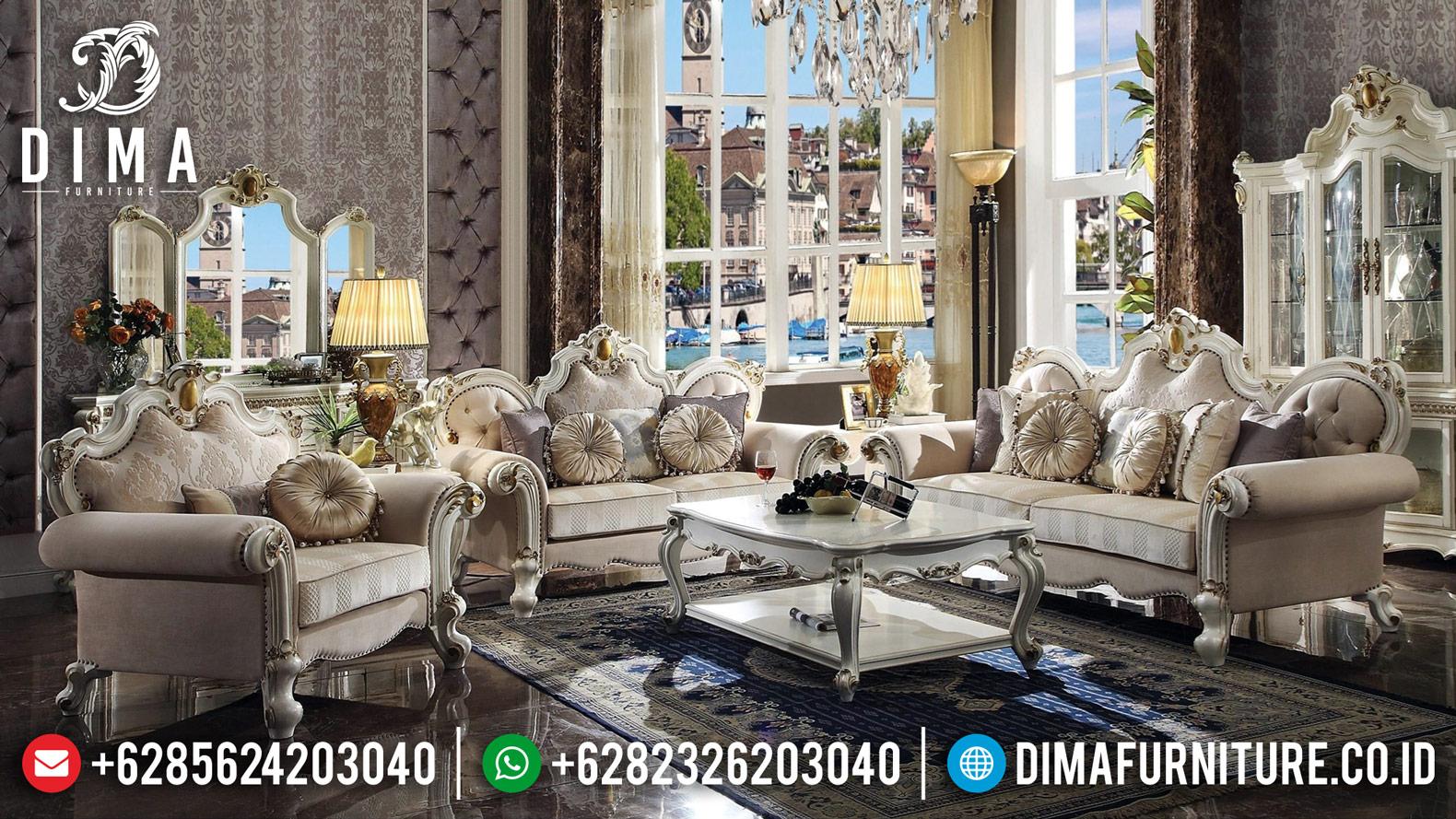 Set New Sofa Tamu Mewah Jepara Klasik Putih Gold Cinderella 2020 DF-1236