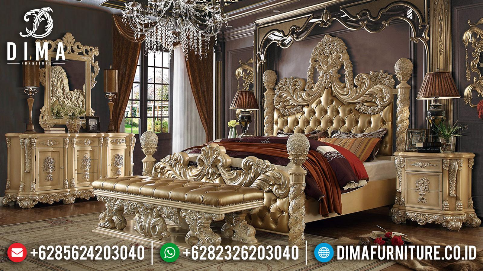 Tempat Tidur Mewah Jepara New Classic Ukiran Royal Terbaru DF-1243