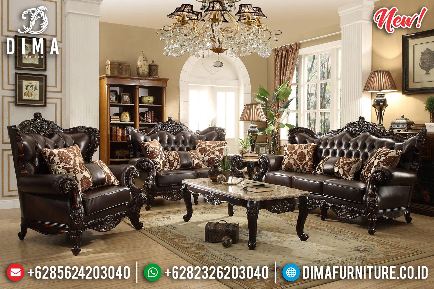New Kursi Sofa Tamu Jepara Jati Ukiran Mewah Klasik Natural DF-1254