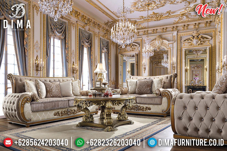 New Set Sofa Tamu Mewah Ukiran Jepara Classic Gold Terbaru DF-1252