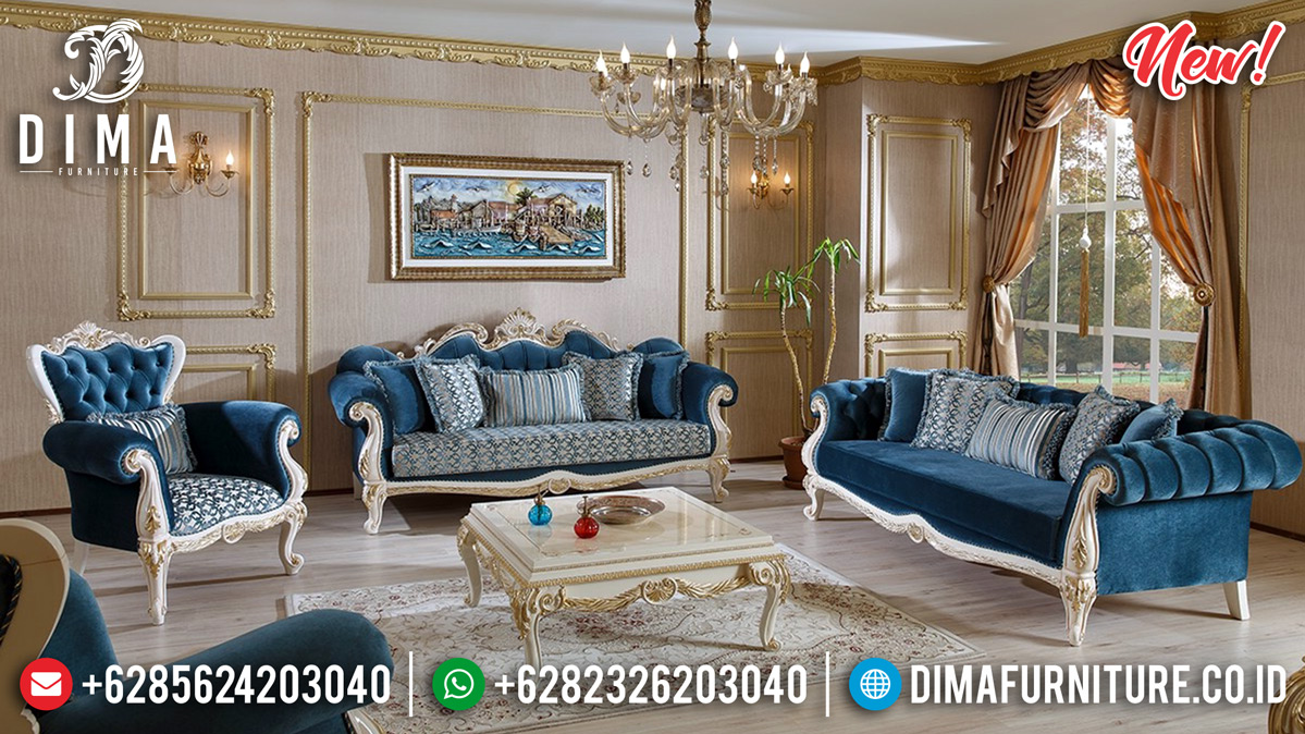 Set Kursi Tamu Jepara, Sofa Tamu Mewah Gold White, New Sofa Tamu Classic DF-1258