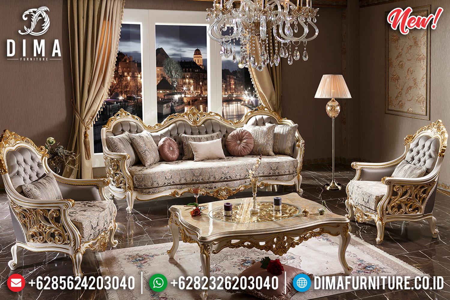 Sofa Tamu Jepara Mewah Sultan New Duco Putih Gold Classic DF-1255