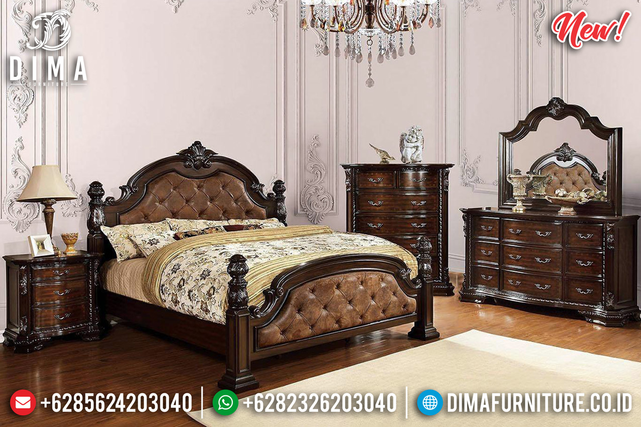 Glamorous & Gorgeous Tempat Tidur Jati Jepara Mewah Natural DF-1286
