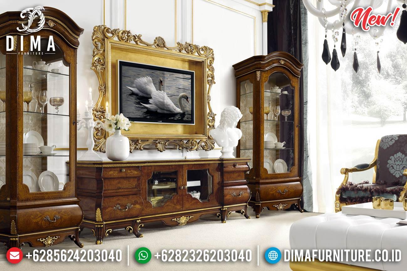 Lemari Hias Jati Jepara Bufet TV Mewah Natural Gold New DF-1272