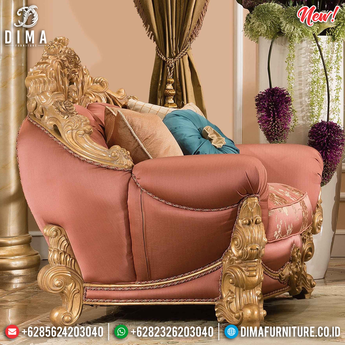 Luxurious Sofa Tamu Mewah Jepara Gold Natural DF-1301 Gambar 1