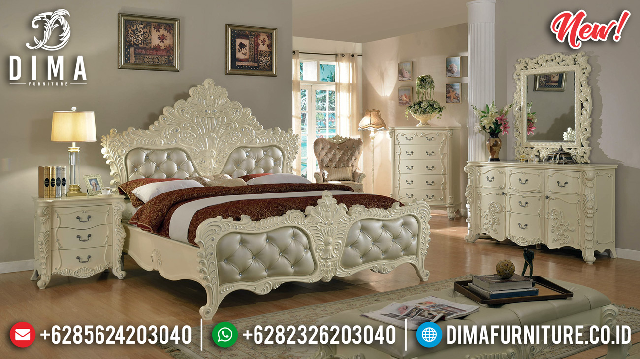 Luxury Gold Duco Tempat Tidur Mewah Ukiran Jepara Klasik Zelda DF-1305 Detail 2