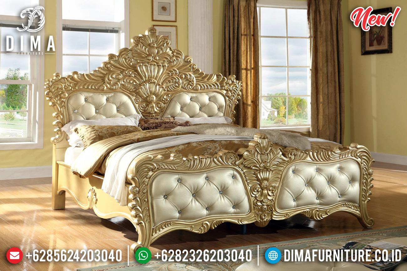 Luxury Gold Duco Tempat Tidur Mewah Ukiran Jepara Klasik Zelda DF-1305