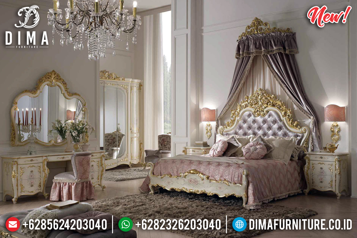 Luxury New Sophia Set Kamar Tempat Tidur Mewah Ivory Gold Duco DF-1306