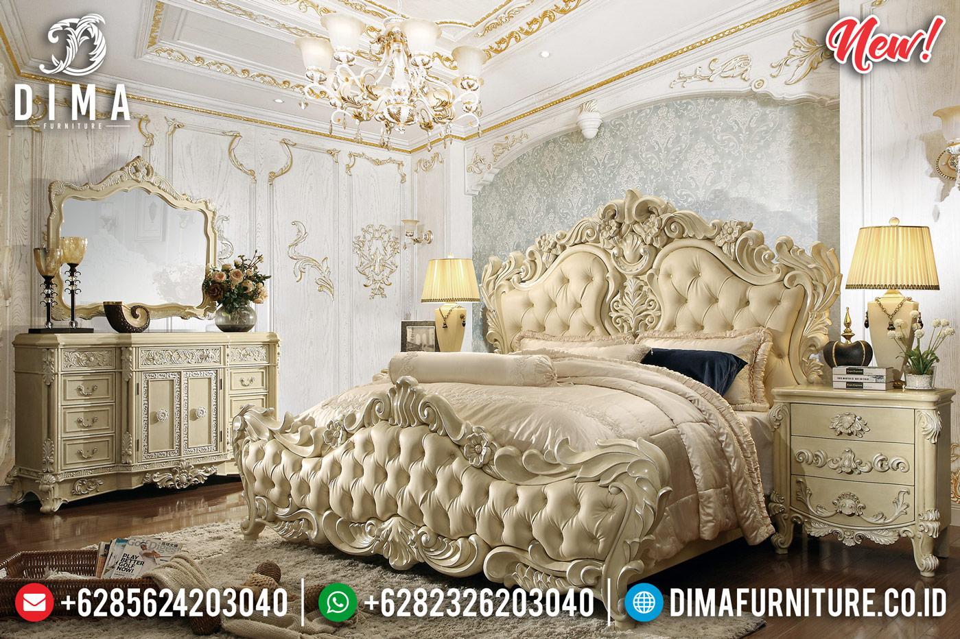 Luxury Tempat Tidur Jepara Ukiran Mewah Duco White Bone DF-1303