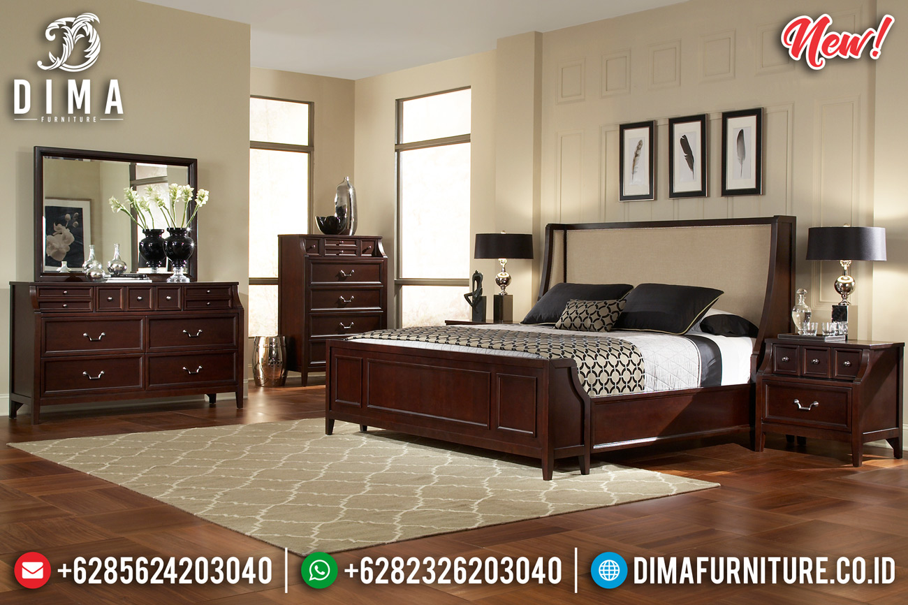 New Kamar Set Tempat Tidur Jati Minimalis Jepara Natural Newport DF-1290