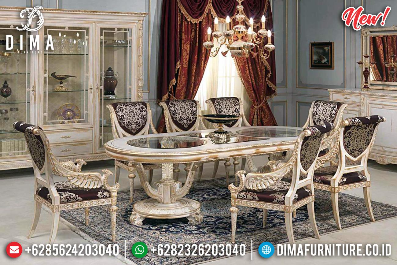 New Sale Meja Makan Mewah Ivory Gold Ukiran Jepara Classic Owl DF-1262
