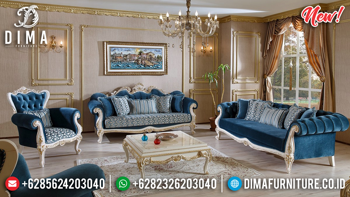 New Set 3 2 1 Sofa Tamu Mewah Jepara Putih Gold Herema DF-1311