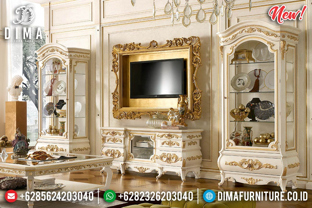 New Set Bufet TV Mewah Jepara Duco Gold Ivory Anna DF-1271