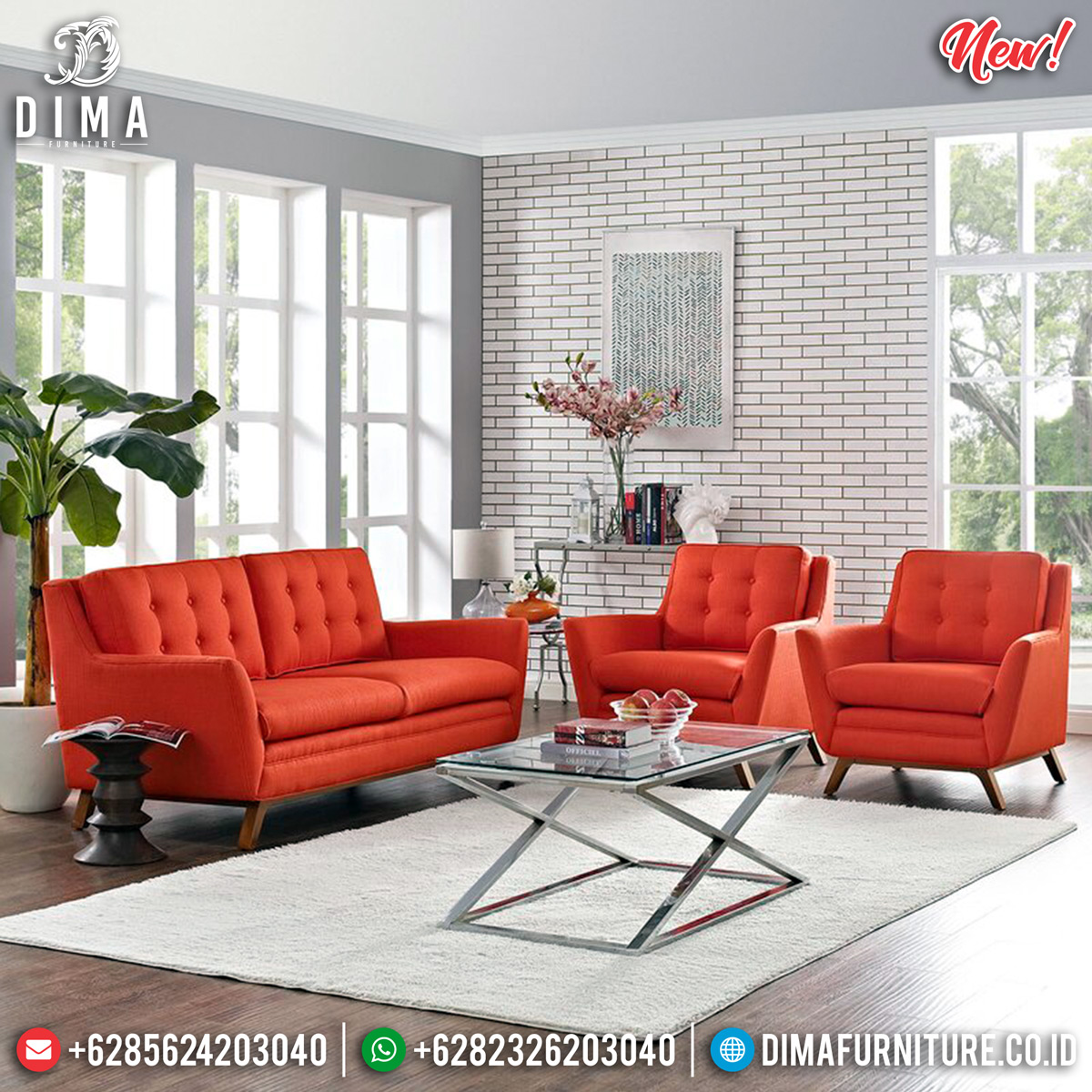 New Sofa Tamu Minimalis Jepara Red Fabric Natural Jati Bauman DF-1295