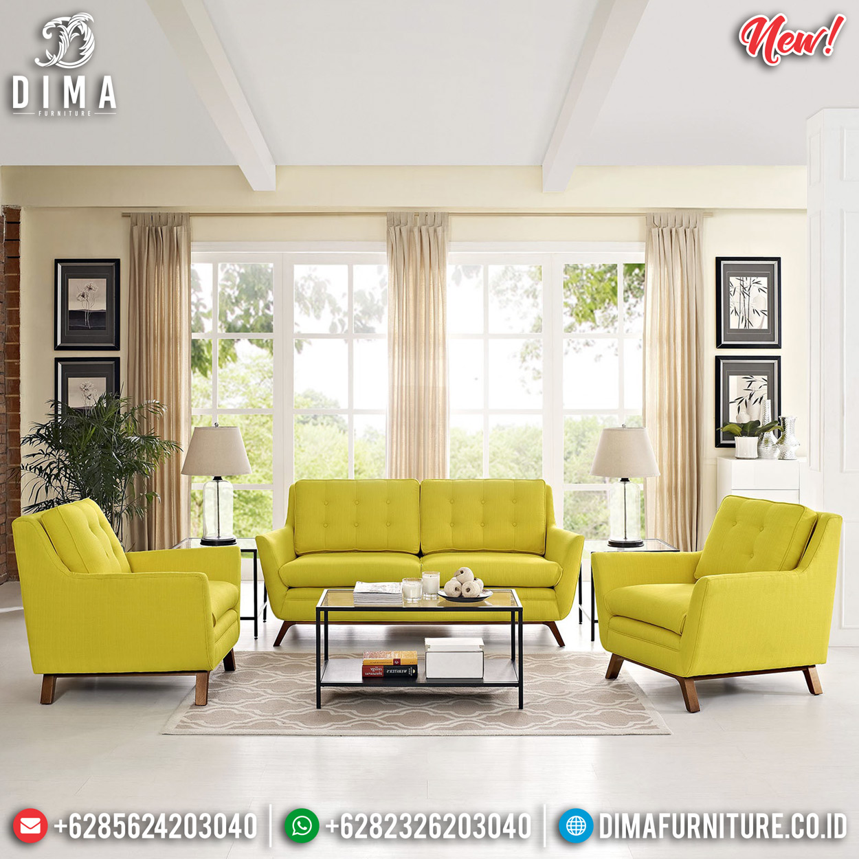 Sale Sofa Ruang Tamu Minimalis Jepara Model Terbaru Natural Jati DF-1296