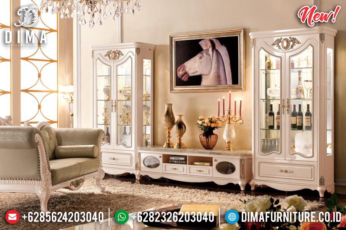 Seri Vitrina New Bufet TV Jepara Mewah Minimalis Terbaru Putih Gold DF-1274